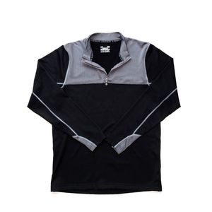 Under Armour Half Zip Up Sweater/Black-Grey/Large